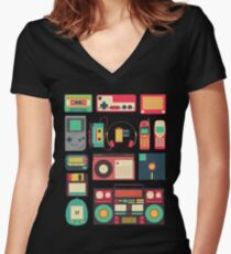 RETRO TECHNOLOGY 1.0 Women's Fitted V-Neck T-Shirt