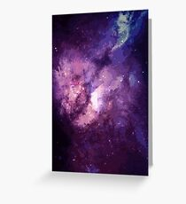Pixel Purple Nebula Greeting Card