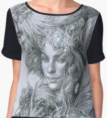 The fairy lady with fighting roosters Women's Chiffon Top