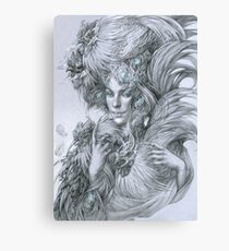 The fairy lady with fighting roosters Canvas Print