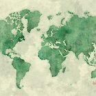 World Map Green by HubertRoguski