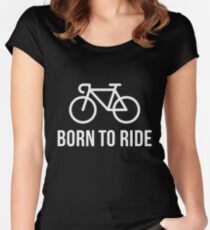 Born To Ride (Racing Bicycle / Bike / White) Women's Fitted Scoop T-Shirt
