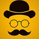 Retro /Minimal vintage face with Moustache & Glasses by badbugs