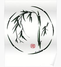 VISIONARY Original sumi-e enso ink brush wash painting Poster