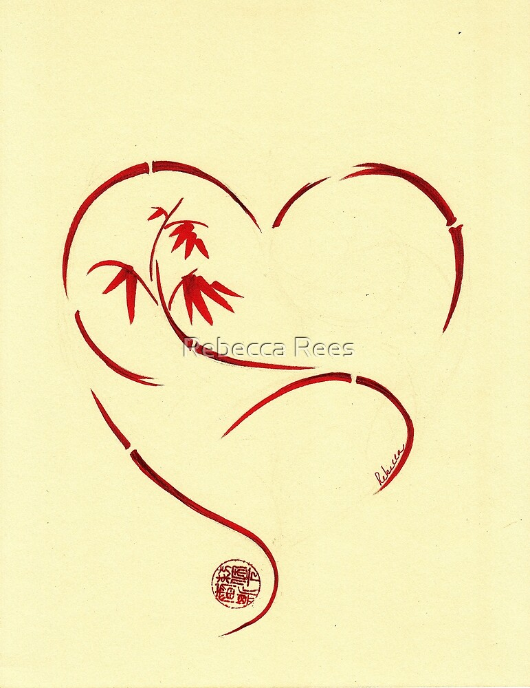 FOREVER YOURS,  Sumi-e Enso Ink Brush Pen Heart Painting by Rebecca Rees