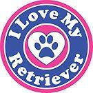 I LOVE MY RETRIEVER GOLDEN DOG HEART I LOVE MY DOG PET PETS PUPPY STICKER STICKERS DECAL DECALS by MyHandmadeSigns