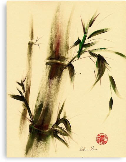 """Calm""  Sumi Sumie bamboo painting by Rebecca Rees"