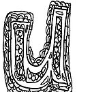Upper case black and white alphabet Letter U by HEVIFineart