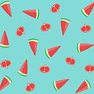 Summer pattern: watermelon and pomegranate by rocioalb