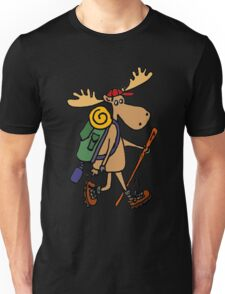 Cool Funny Moose Hiking withBackpack Unisex T-Shirt