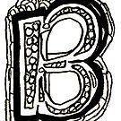 Upper case black and white alphabet Letter B by HEVIFineart
