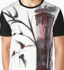 Crimson in the Mist - India ink bamboo wash painting Graphic T-Shirt