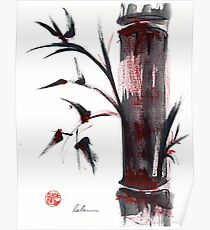 Crimson in the Mist - India ink bamboo wash painting Poster