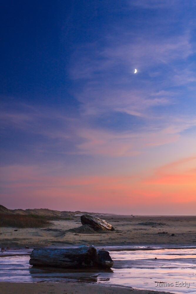 Florence Beach Twilight Moon by James Eddy