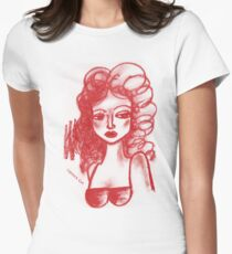 Lip Stick Girl Tshirt Womens Fitted T-Shirt
