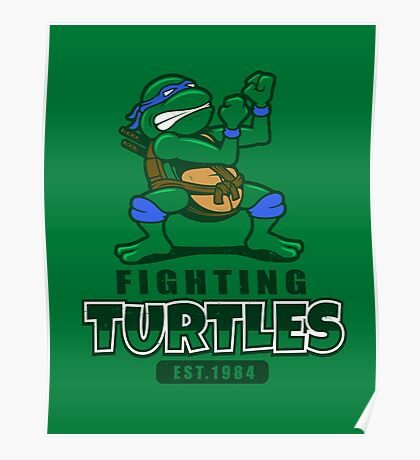 Fighting Turtles - Leonardo Poster