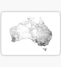 Australia mapped by dirt tracks, roads and highways Sticker