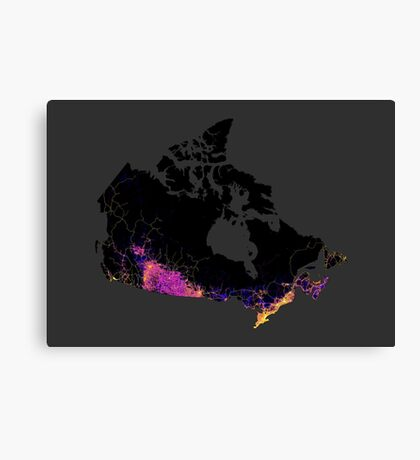 Canada mapped by roads, streets and highways Canvas Print