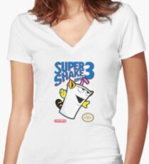 Super Shake Bros. 3 Women's Fitted V-Neck T-Shirt