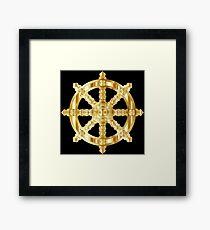 Gold Dharma Wheel Framed Print