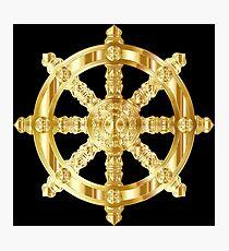 Gold Dharma Wheel Photographic Print