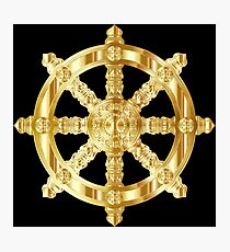 Gold Dharma Wheel Photographic Print