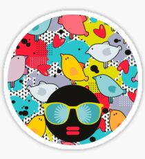 Birds and hearts and colorful blur Sticker