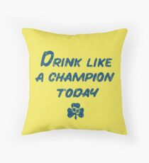 Drink Like a Champion - South Bend Style Gold Throw Pillow