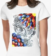 Grunge Acrylic Flowers Women's Fitted T-Shirt