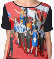 Election News Party Rally Crowd Chiffon Top