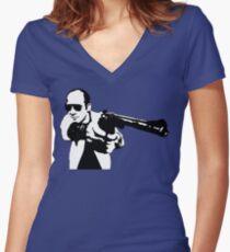 Hunter S Thompson - Gun - Large Women's Fitted V-Neck T-Shirt