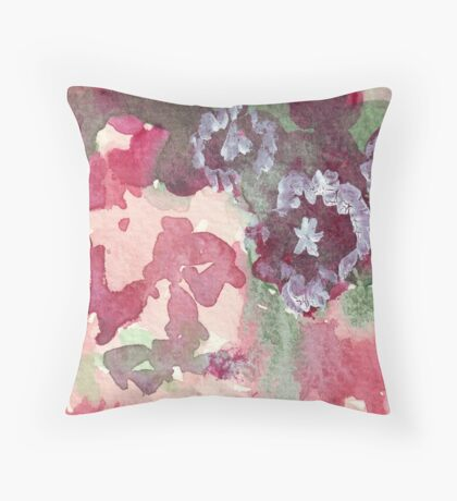 Dianthus in Terracotta Pot Throw Pillow