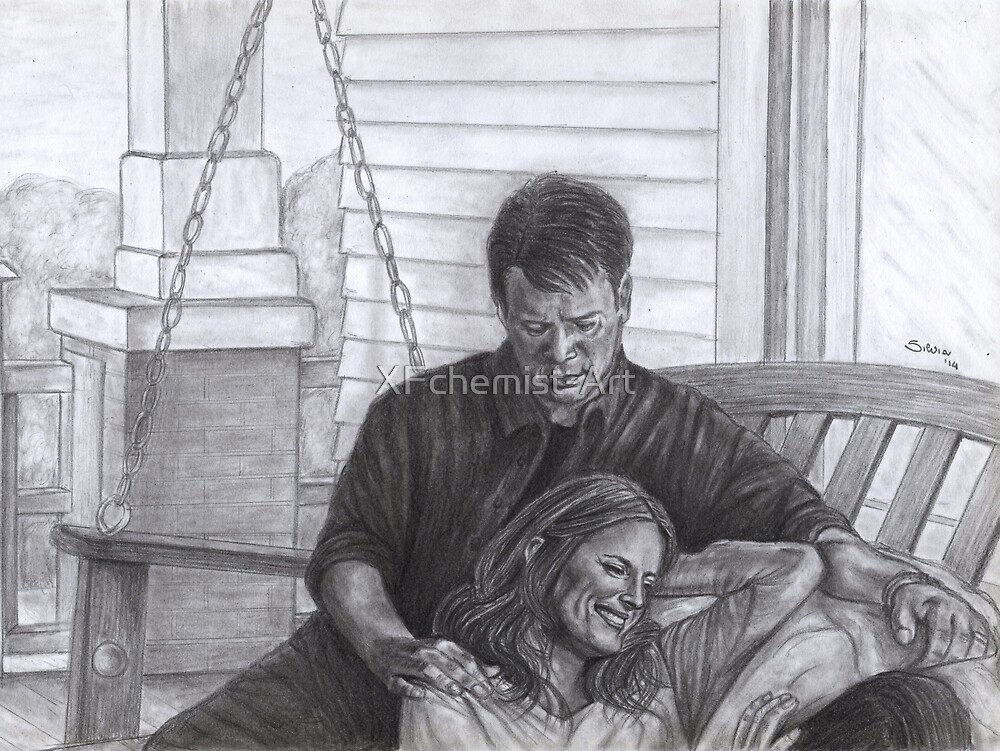 Castle and Beckett - Relax on the porch swing by XFchemist-Art