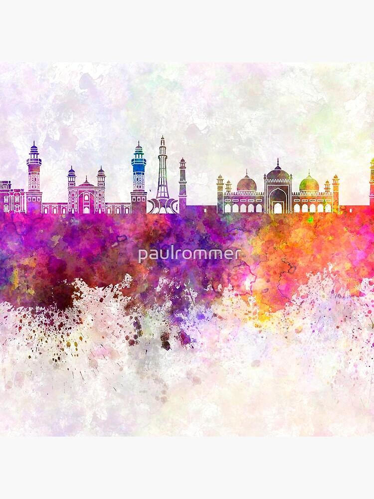 Lahore-Skyline im Aquarellhintergrund von paulrommer