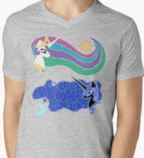 Princess Celestia and Nightmare Moon V-Neck T-Shirt
