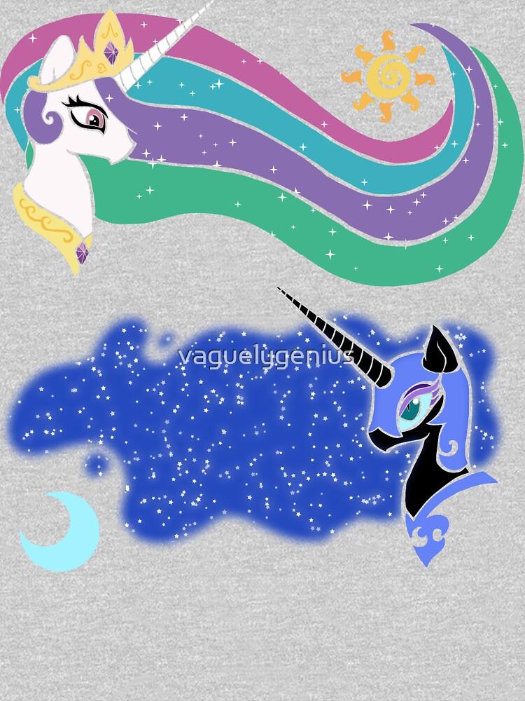 Princess Celestia and Nightmare Moon by vaguelygenius