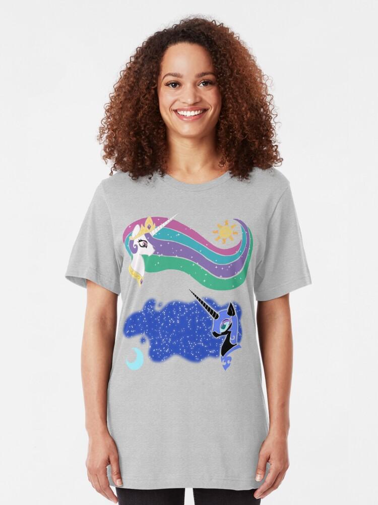 Alternate view of Princess Celestia and Nightmare Moon Slim Fit T-Shirt