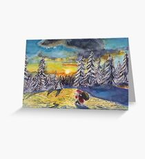 Christmas Sunset - Yellow and Blue Greeting Card