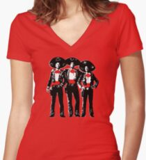 Three Amigos - Pop Art on Red Women's Fitted V-Neck T-Shirt
