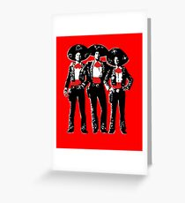 Three Amigos - Pop Art on Red Greeting Card