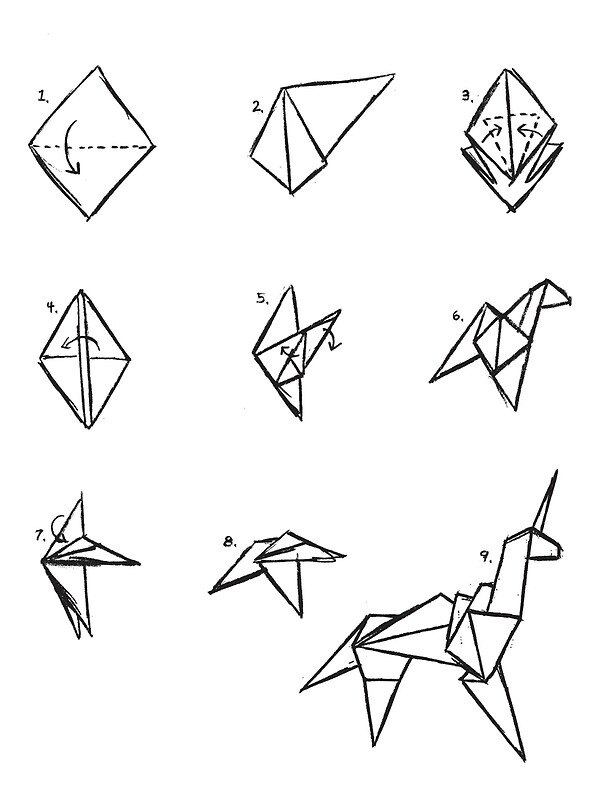 origami unicorn blade runner metal prints by g ee k. Black Bedroom Furniture Sets. Home Design Ideas