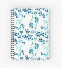 Cuaderno de espiral Flor azul acuarela