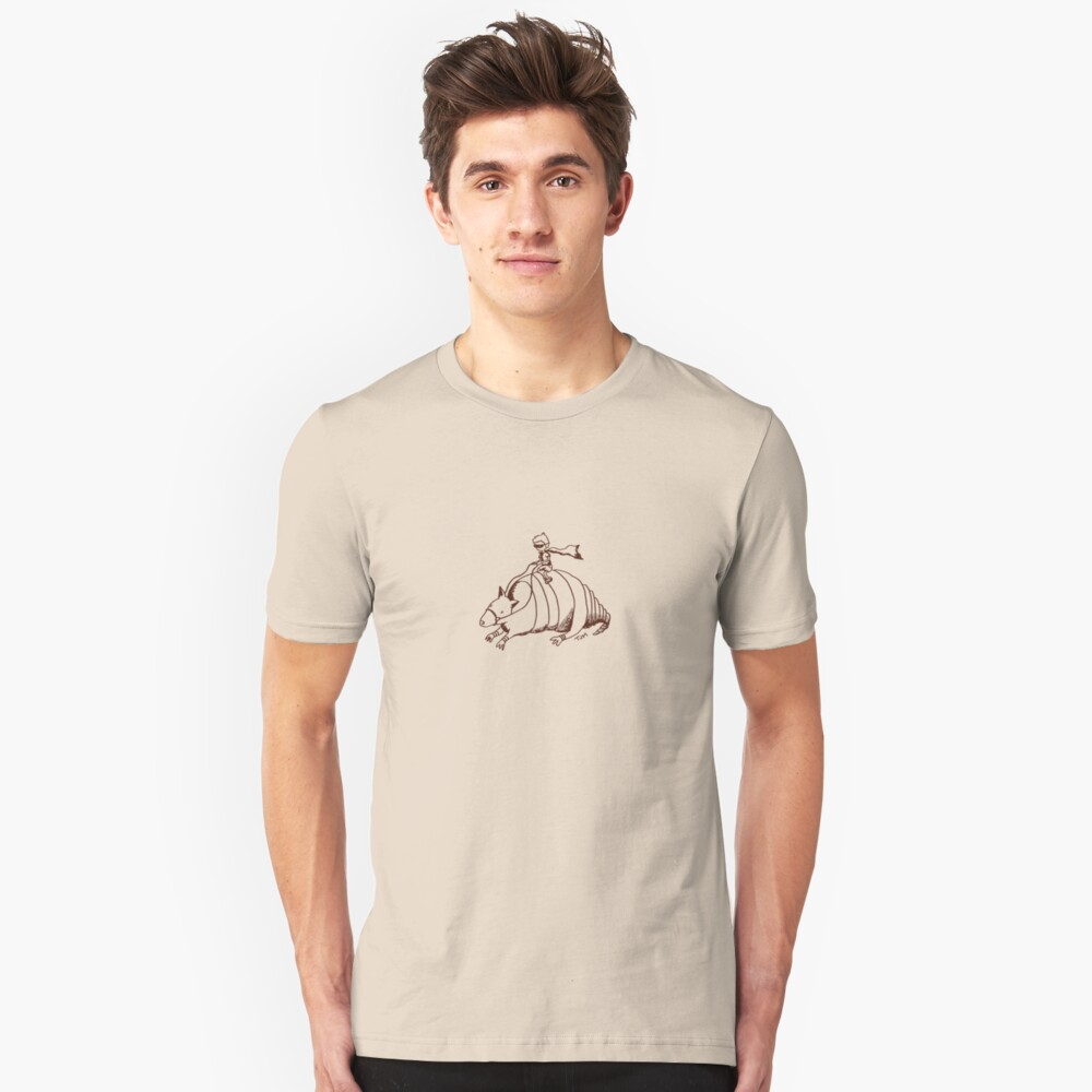 Armadillo and Boy (small Brown) Unisex T-Shirt Front