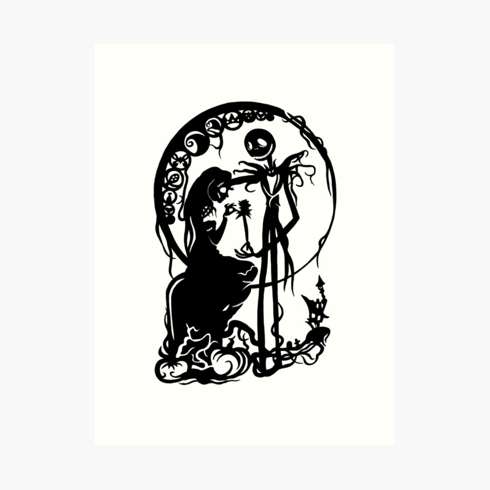 Nightmare Before Christmas Images Black And White.Nightmare Before Christmas Black On White Art Print
