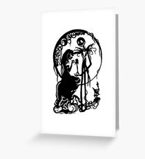 Nightmare Before Christmas - Black On White Greeting Card