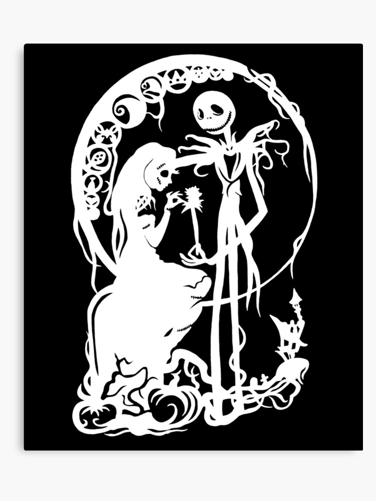 Nightmare Before Christmas Images Black And White.Nightmare Before Christmas White On Black Canvas Print