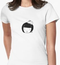 Bunny girl (outline) Womens Fitted T-Shirt