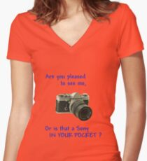 Are you pleased to see me. Sony. Women's Fitted V-Neck T-Shirt
