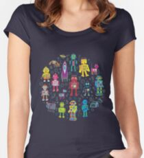 Robots in Space - grey - fun Robot pattern by Cecca Designs Women's Fitted Scoop T-Shirt
