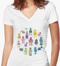 Robots in Space - grey Women's Fitted V-Neck T-Shirt